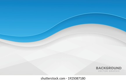 Wavy blue and white gradient color background with papercut style.