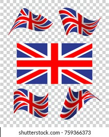 ???? of wavy British flag. Icon on a transparent background. Vector illustration