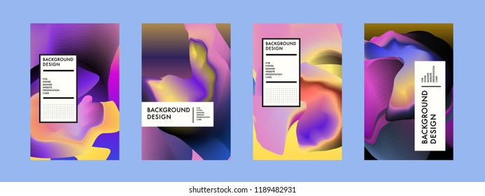 Wavy Colorful Marble Background Set. Trendy Gradient Shapes Composition. Eps10 Vector.