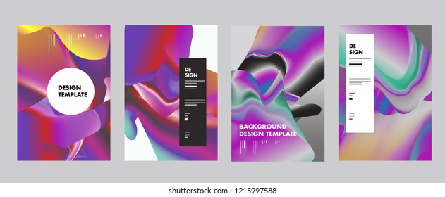 Wavy Colorful Marble Background Set. Trendy Gradient Shapes Composition. Eps10 Vector