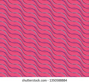 wavy colorful pink organic lines repeating pattern tile with colored lines and brush effect for creative surface design templates, covers, posters, brochures, textile and fabric. the tile is seamless