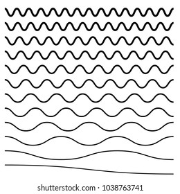 Wavy, criss-cross, zig-zag lines. Set of different levels