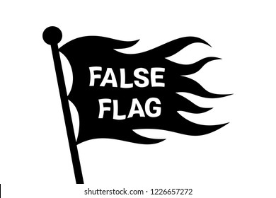 Wavy False flag on the pole - covert identity as method of deception and cheating. Manipulative camouflage. Vector illustration