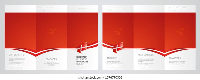 Wavy flag and ribbon of Denmark three fold brochure modern design blue abstract background