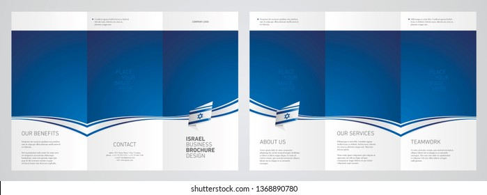 Wavy flag and ribbon of Israel three fold brochure modern design blue abstract background