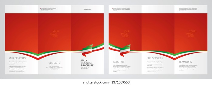 Wavy flag and ribbon of Italy three fold brochure modern design red abstract background