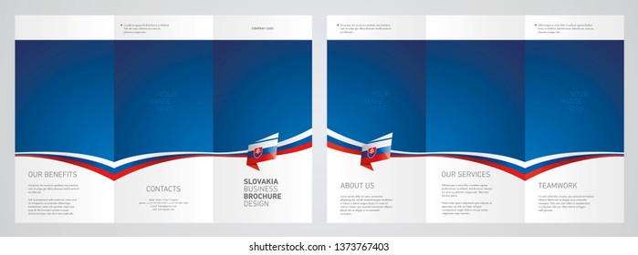Wavy flag and ribbon of Slovakia three fold brochure modern design blue abstract background