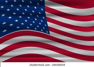 Wavy flag of United States of America/vector illustration