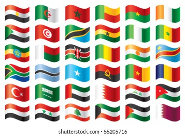 Wavy flags set - Africa & Middle East. 36 Vector flags.