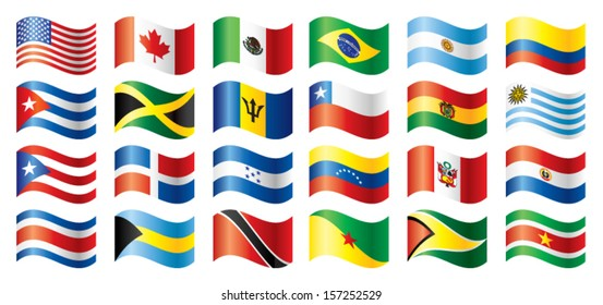 Wavy flags set - America. 24 flags. JPEG version