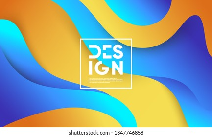 Wavy geometric background. Trendy gradient shapes composition. Eps10 vector.