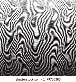 Wavy line gradient background. Black and white uneven stripe with various thickness. Wave ripple abstract vector texture