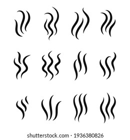 Wavy line vector of rising steam or smoke. Coffee aroma line concept Isolated on white background.