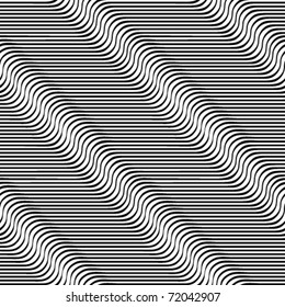 Wavy lines seamless pattern. Waves optical illusion vector background.