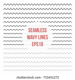 Wavy lines set. Horizontal seamless thin zig zag, criss cross and wavy lines for brushes. Vector design elements