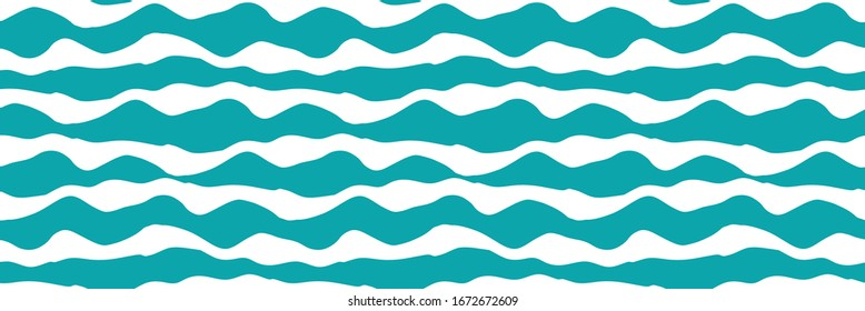 Wavy lines vector seamless border. Chunky uneven wide horizontal sea wave banner. Abstract marine geometric repeat pattern ribbon trim, washi tape. For nautical, water, ocean concept.