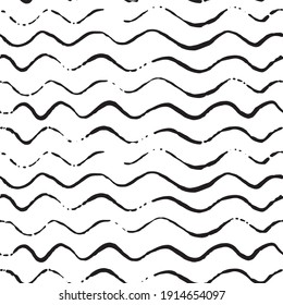 Wavy lines vector seamless pattern. Hand drawn ink doodles. Abstract monochrome background.