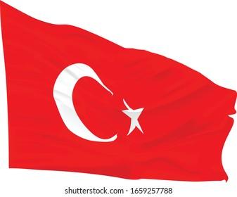wavy mesh turkish flag isolated
