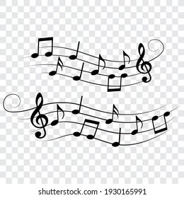 Wavy music notes set, isolated vector illustration.