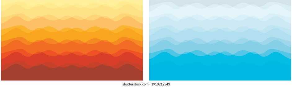Wavy orange red yellow blue cyan color abstract background for party poster, banner, cover art