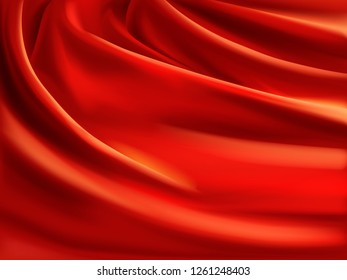 Wavy red satin, soft silk fabric with folds 3d realistic vector illustration. Luxury atlas or satin material texture. Crumpled with creases textile curtain or drapery. Fashion abstract background