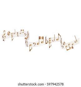Wavy score with musical notes in vector format./Wavy musical score with notes vector element.