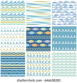 Wavy sea ornaments set. Seamless doodle patterns. Vector decorative marine design elements and symbols. Waves, borders, dividers. Hand drawn brush strokes, lines collection.