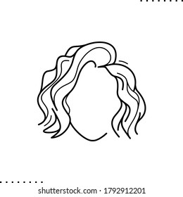 wavy short hair style vector icon in outlines