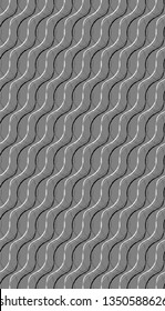 wavy silver grey organic lines repeating pattern tile with grayscale lines and 3D effect for creative surface design templates, covers, posters, brochures, textile and fabric. the tile is seamless