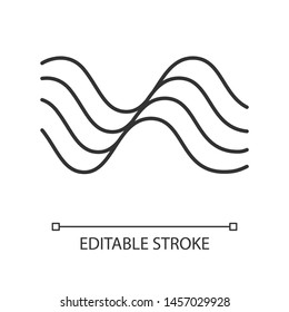 Wavy sound lines linear icon. Thin line illustration. Music rhythm, melody wave. Soundtrack play waveform. Synergy, energy flow sign. Contour symbol. Vector isolated outline drawing. Editable stroke