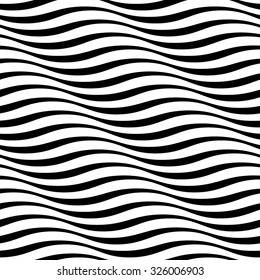 Wavy stripes seamless pattern. Abstract fashion wave texture. Geometric monochrome template. Graphic style for wallpaper, wrapping, fabric, background design, apparel, other print production. Vector