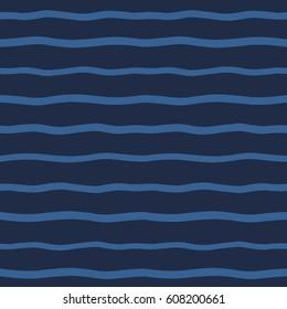 wavy stripes seamless vector pattern. Endless wide waves. Marine, sea, ocean, water abstract background. Dark blue, navy striped texture. Undulating uneven streaks, bars.
