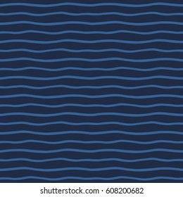 wavy stripes seamless vector pattern. Endless thin waves. Marine, sea, ocean, water abstract background. Dark blue, navy striped texture. Undulating uneven streaks, bars.
