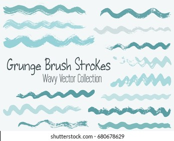 Wavy stripes vector set, blue brush strokes or background elements. Artistic curve lines grunge collection. Set of hipster hand painted brushes isolated. Textured waves, stripes design.