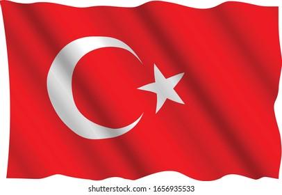 Wavy turkish flag isolated vector
