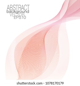 Wavy veil of gentle red, pink, cream tones. Abstract wave pattern. Line art elegant design, waving glowing lines. Flowing ribbon imitation. Fancy template for invitation, leaflet, flyer. Vector EPS10