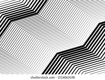 Wavy, waving grid of parallel irregular lines. Billowy, undulating, zigzag stripes, streaks. Abstract geometric background