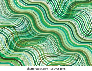 Wavy, waving texture, pattern. Grid, mesh of lines, stripes with billowy, undulating (zigzag) distortion. Abstract geometric background