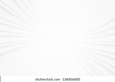 Wavy white gradient stripes line background with copy space. Abstract white and grey line cover or banner, Monochrome modern vector backdrop.\n