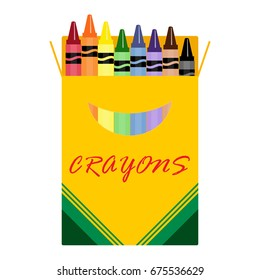 Wax colorful crayons, blue, green, yellow, orange, grey and brow vector set collection isolated