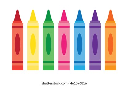 Wax colorful crayons, vector set collection isolated