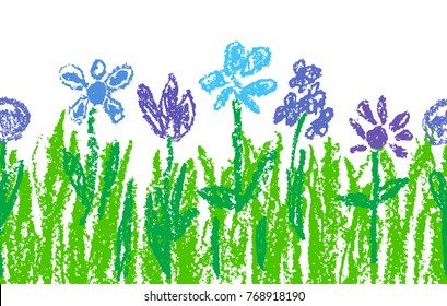 Wax crayon blue flowers with green grass like kid`s art hand drawn. Seamless like child`s painting flowers border set. Cute spring and summer chalk or pencil drawing meadow. Vector background banner