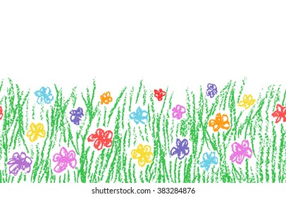 Wax crayon hand drawn green grass with color flower isolated on white. Seamless kid`s drawn background banner. Vector pastel chalk copy space design element.