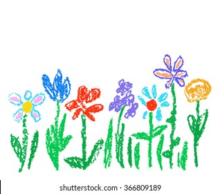 Wax crayon kid`s drawn colorful flowers isolated on white. Child`s drawn pastel chalk blooming flowers set. Cute of kid`s painting spring flowering meadow. Vector hand drawing background banner.