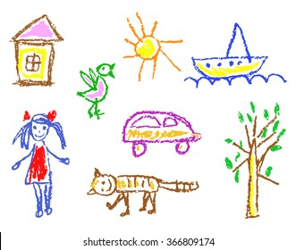 Wax crayon kid`s drawn girl, house, bird, cat, sun, car, tree, ship isolated on white. Child`s drawn colorful pastel chalk vector design elements. Set of kid`s painting objects.