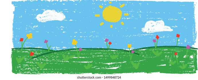 Wax crayon kid`s hand drawn grass hills with blue sky ,child`s drawn flowers set. kid`s painting spring and summer meadow. Vector pastel chalk background banner.