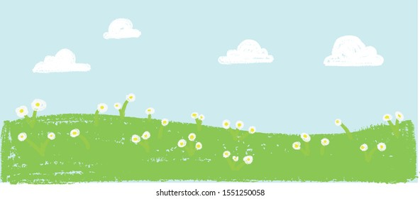 Wax crayon kid`s hand drawn grass hills with blue sky ,child`s drawn white flowers set. kid`s drawing spring and summer meadow. Vector pastel chalk background banner