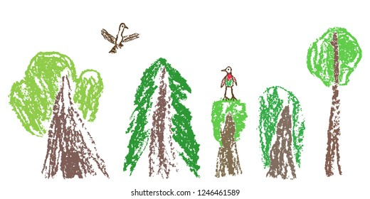 Wax crayon like child`s hand drawn forest or tree set and flaying bird isolated on white. Pastel chalk or pencil like kid`s hand painting on paper. Vector ecology  background banner.