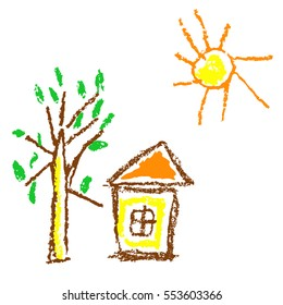Wax crayon like kid`s hand drawn house, sun, tree  isolated on white. Like child`s painted colorful pastel chalk vector design elements. Set of like kid`s pencil painting objects.