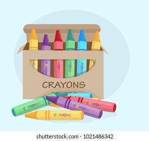 wax crayons for drawing, color, vector illustration